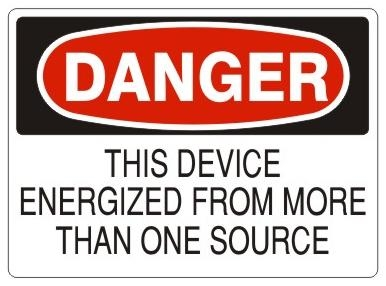 Danger this device energized from more than one source sign choose 7