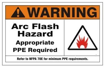 Warning arc flash hazard appropriate ppe required sign for Arc flash warning signs
