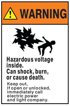 Warning Hazardous Voltage Inside Can Shock Burn Or Cause