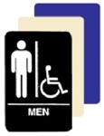 MEN RESTROOM with WHEELCHAIR ACCESSIBLE SYMBOL Sign - 6 X 9 Available in Blue, Black and Taupe