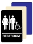 ADA WOMEN/MEN Wheelchair Accessible Restroom Sign - 6 X 9 Available in Blue, Black and Taupe