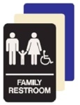 ADA Wheelchair Accessible Family Restroom Sign - 6 X 9 Available in Blue, Black and Taupe