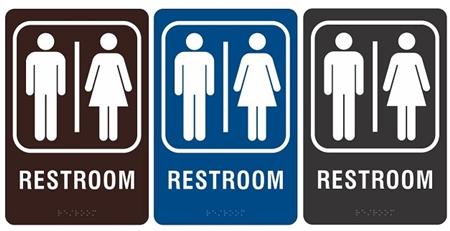 acrylic ada men woman restroom sign