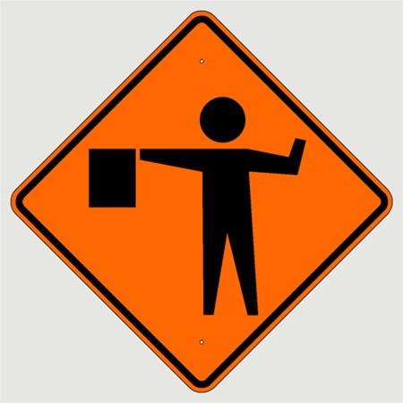 FLAGMAN AHEAD (Symbol) Sign