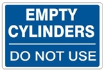 "EMPTY CYLINDERS DO NOT USE, Gas Cylinder Sign, 7"" X 10"" Pressure Sensitive Vinyl"