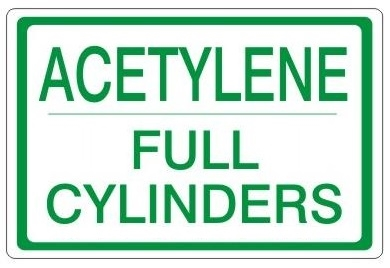 Acetylene Full Cylinders Safety Sign