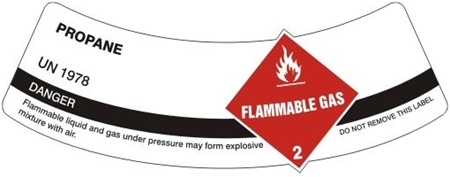 PROPANE - CYLINDER LABEL, Labels are 2 x 5.5 Sold 5 per package