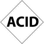 Pre-printed Symbol ACID - Clear pressure sensitive vinyl Available in 1, 2, 3, 4, and 6 inch - 5 Identical Symbols per Pack.