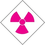 Pre-printed Radiation Symbol - Clear pressure sensitive vinyl Available in 1, 2, 3, 4, and 6 inch - 5 Identical Symbols per Pack.
