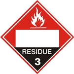FLAMMABLE LIQUIDS, RESIDUE (BLANK 4 DIGIT BOX) CLASS 3, DOT PLACARD, Choose from 4 Constructions