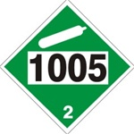 DOT PLACARD 1005 AMMONIA, ANHYDROUS, Choose from 4 Materials: Pressure Sensitive Vinyl, Rigid Plastic, Aluminum or Magnetic