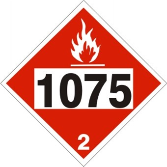 DOT PLACARD, 1075, BUTANE, LPG, PROPANE, Flammable Gas, Class 2 - Choose from 4 Materials: Press On Vinyl, Rigid Plastic, Aluminum or Magnetic
