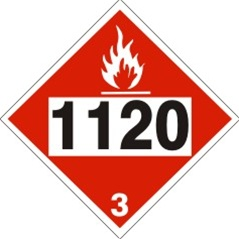 DOT PLACARD 1120 BUTANOLS, Flammable Liquid, Class 3 - Choose from 4 Materials: Press On Vinyl, Rigid Plastic, Aluminum or Magnetic