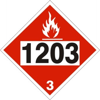 DOT PLACARD 1203 GASOLINE, GASOHOL, PETROL, Flammable liquid, Class 3 - Choose from 4 Materials: Press On Vinyl, Rigid Plastic, Aluminum or Magnetic