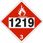DOT PLACARD 1219 ISOPROPANOL, Flammable liquid, Class 3 - Choose from 4 Materials: Press On Vinyl, Rigid Plastic, Aluminum or Magnetic