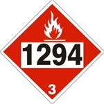 DOT PLACARD 1294 TOLUENE, Flammable Liquid, Class 3 - Choose from 4 Materials: Press On Vinyl, Rigid Plastic, Aluminum or Magnetic