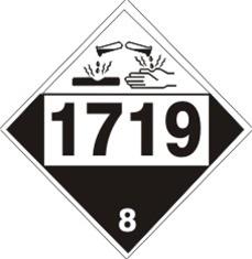 1719 Caustic Alkali Liquids Dot Placard