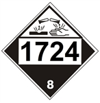 DOT PLACARD 1724 ALLYLTRICHLOROSILANE, STABILIZED, Corrosive, Class 8 - Choose from 4 Materials: Press On Vinyl, Rigid Plastic, Aluminum or Magnetic