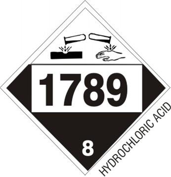 1789 Hydrochloric Acid Dot Placard