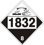 DOT PLACARD 1832 SULFURIC ACID, SPENT, Corrosive, Class 8 - Choose from 4 Materials: Press On Vinyl, Rigid Plastic, Aluminum or Magnetic