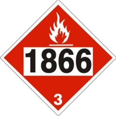 DOT PLACARD 1866 RESIN SOLUTION, Flammable liquid, Class 3 - Choose from 4 Materials: Press On Vinyl, Rigid Plastic, Aluminum or Magnetic