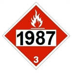 DOT PLACARD 1987 ALCOHOLS, DENATURED ALCOHOL, Flammable Liquid, Class 3 - Choose from 4 Materials: Press On Vinyl, Rigid Plastic, Aluminum or Magnetic