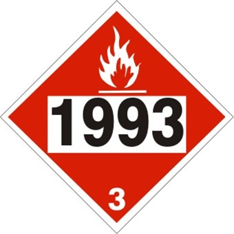 DOT PLACARD 1993 FLAMMABLE LIQUIDS n.o.s., FUEL OIL, Flammable Liquid, Class 3 - Choose from 4 Materials: Press On Vinyl, Rigid Plastic, Aluminum or Magnetic