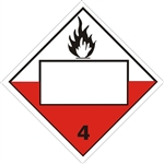 BLANK 4 DIGIT - SPONTANEOUSLY COMBUSTIBLE CLASS 4 DOT PLACARD - Choose from 4 Materials: Press On Vinyl, Rigid Plastic, Aluminum or Magnetic