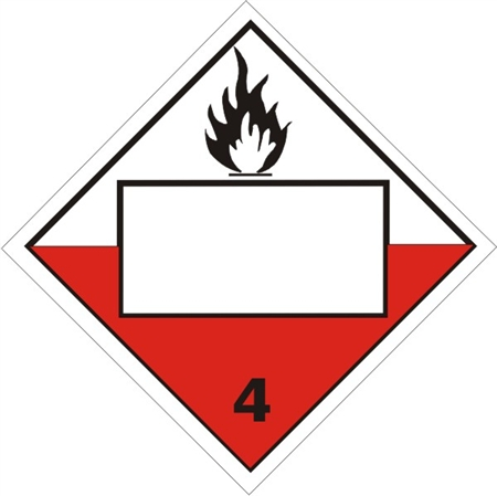 Blank Spontaneously Combustible Class 4 Dot Placard