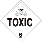 DOT PLACARD (POISON PICTO) TOXIC CLASS 6, Choose from 4 Materials: Press On Vinyl, Rigid Plastic, Aluminum or Magnetic