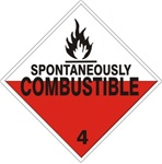 DOT PLACARD SPONTANEOUSLY COMBUSTIBLE CLASS 4 - Choose from 4 Materials: Press On Vinyl, Rigid Plastic, Aluminum or Magnetic