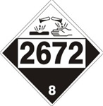 DOT PLACARD 2672 AMMONIA SOLUTIONS, Corrosive, Class 8 - Choose from 4 Materials: Press on Vinyl, Rigid Plastic, Aluminum or Magnetic