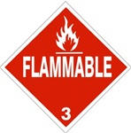 DOT PLACARD - FLAMMABLE - CLASS 3, Choose from 4 Materials: Press on Vinyl, Rigid Plastic, Aluminum or Magnetic.