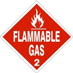 DOT PLACARD - FLAMMABLE GAS - Class 2 - Choose from 4 Materials: Press on Vinyl, Rigid Plastic, Aluminum or Magnetic.