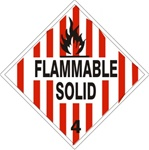 DOT PLACARD - FLAMMABLE SOLID - CLASS 4, Choose from 4 Materials: Press on Vinyl, Rigid Plastic, Aluminum or Magnetic.