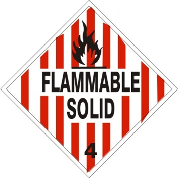 Flammable Solid Class 4 Dot Placard