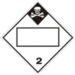 BLANK 4 DIGIT DOT PLACARD INHALATION HAZARD CLASS 2, Choose from 4 Materials: Press on Vinyl, Rigid Plastic, Aluminum or Magnetic.