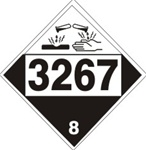 DOT PLACARD 3267 CORROSIVE LIQUID, BASIC, ORGANIC n.o.s. Corrosive, Class 8 - Choose from 4 Materials: Press on Vinyl, Rigid Plastic, Aluminum or Magnetic.