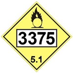 DOT PLACARD 3375 AMMONIUM NITRATE, Oxidizer, Class 5.1 - Choose from 4 Materials: Press On Vinyl, Rigid Plastic, Aluminum or Magnetic
