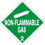DOT PLACARD - NON-FLAMMABLE GAS - CLASS 2, Choose from 4 Materials: Press on Vinyl, Rigid Plastic, Aluminum or Magnetic.