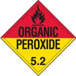 DOT PLACARD - ORGANIC PEROXIDE - CLASS 5.2, Choose from 4 Materials: Press on Vinyl, Rigid Plastic, Aluminum or Magnetic.