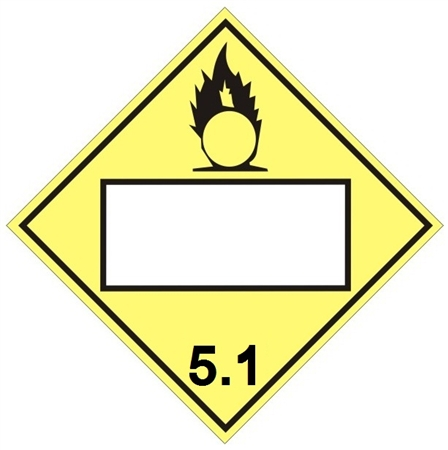 Blank Oxidizer Dot Placard Class 5 1