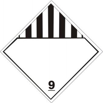 Blank Miscellaneous Dangerous Goods Class 9 Dot Placard