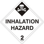 DOT PLACARD (POISON PICTO) INHALATION HAZARD CLASS 2, Choose from 4 Materials: Press on Vinyl, Rigid Plastic, Aluminum or Magnetic.