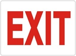Red Lettering on White Background EXIT Sign - Choose 7 X 10 - 10 X 14, Self Adhesive Vinyl, Plastic or Aluminum.