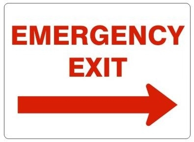 emergency exit arrow right sign