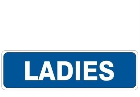ladies restroom door sign
