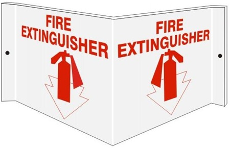 Fire Extinguisher Wall Mount 3 Way Sign