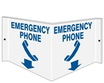 Wall Projection EMERGENCY PHONE 3 way Sign, Unique 180° design visible from either side as well as from the front