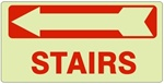 STAIRS arrow left Glow in the Dark Sign - Available 6.5 X 14 Self Adhesive Vinyl, Plastic and Aluminum.
